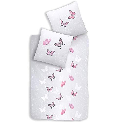 Juego de ropa de cama de 2 piezas, funda de almohada de 80 x 80 cm y funda nórdica de 135 x 200 cm, 100% algodón, diseño de mariposas.