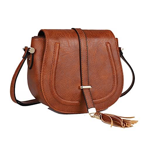 AFKOMST Borsa a tracolla da donna, borsa da sella media, borsa a tracolla leggera vintage, borse e borsette in morbida pelle, con tracolla regolabile