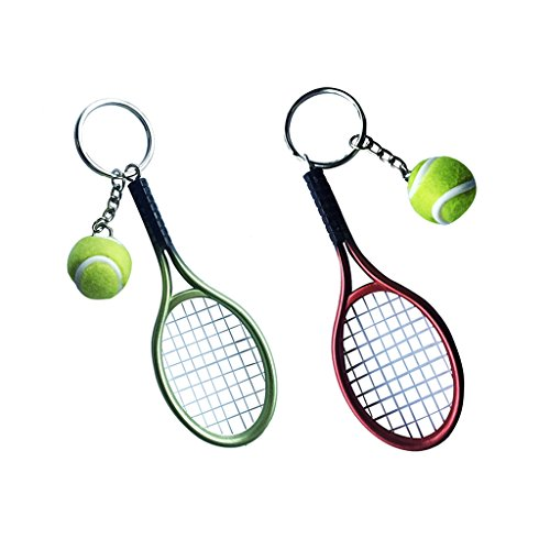 Sharplace Llavero Tenis / Tenis de Mesa Mini Colgante Pelota y Raqueta 2 Pedazos Llavero Parejas - Tenis (Longitud Total 12cm)