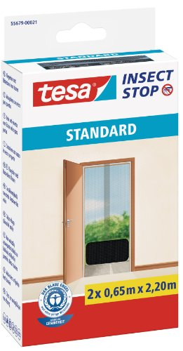 TESA 55679-00021-03 Malla mosquitera Standard para puertas, 2 telas de 0.65 cm x 2.2 m, color negro