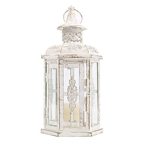JHY DESIGN Lanternes Décoratives 25cm Haute Vintage Style Lanterne Suspendue Bougeoir en Métal Bougeoir pour Intérieur Balcon Extérieur Fêtes Mariages (Blanc avec Brosse en Or)