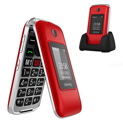 Ushining Senior Flip Phone Unlocked 3G SOS Big Button Unlocked T Mobile Flip Phone 2.8' LCD and Large Keypad Basic Cell Phone with Charging Cradle for Seniors(Red)