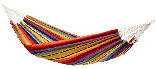 AMAZONAS Klassische Hängematte XL Barbados Rainbow handgefertigt in Brasilien bis 200 kg Belastbarkeit mit 230 x 150 cm für 1-2 Personen in Buntgestreift