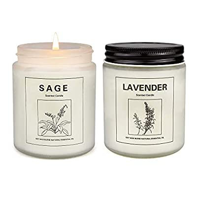 Sage Candles for Home Scented, Aromatherapy Lavender Candle, Soy Wax Candle Set 2 Pack, Women Gift with Strongly Fragrance Jar Candles by KISS OF DEATH