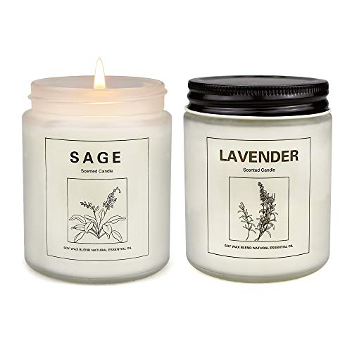 Sage and Lavender Candles for Home Scented, Aromatherapy Candle 2 pcs, Soy Wax Candle Set, Women Valentine Gift with Strongly Fragrance Jar Candles