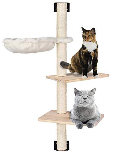 MECOREX Estantería para Gatos de Mecoex, con escalones de Madera Maciza y Hamaca Sunny Seat