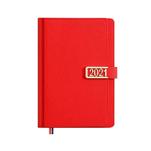 LXX Diarios 2021 Planificador-Planificador Mensual 2,9'x 8.3' de enero 2021-dic 20121 Papel de Escritura 400 páginas blocs y Cuadernos de Notas (Color : Red, tamaño : A5)