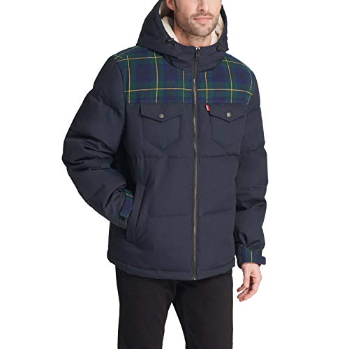 Levi's Men's Heavyweight Mid-length Hooded Military Puffer Jacket Down Alternative Coat
