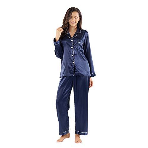 Gaeshow Damen-Schlafanzug-Set, Seidensatin, Pyjama-Set, langärmelige Nachtwäsche, Loungewear für alle Jahreszeiten Gr. 36, dunkelblau