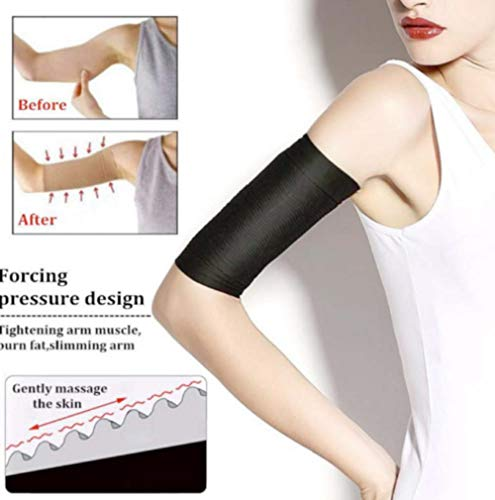 XYN Thermal ToneUp Arm Shaper,Women Arm Shaping Shaper Fat Buster Off Cellulite Slimming Wrap Belt Band (Schwarz, 2 Paar)