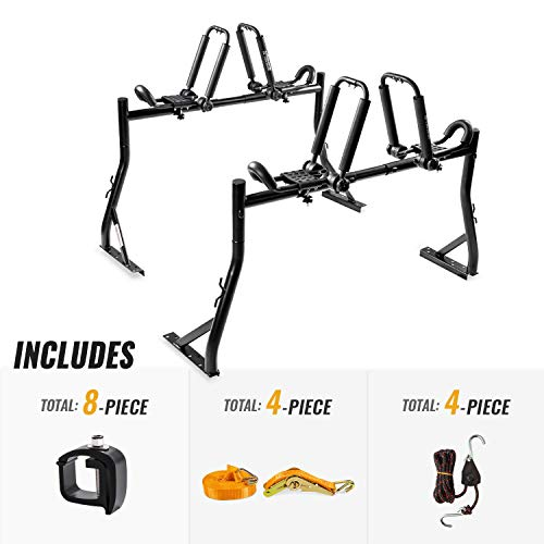 AA-Racks Model X35 Truck Rack with 8 Non-Drilling C-Clamps and 2 Sets Folding Kayak J-Racks with Ratchet Lashing Straps & Ratchet Bow and Stern Tie Down Straps