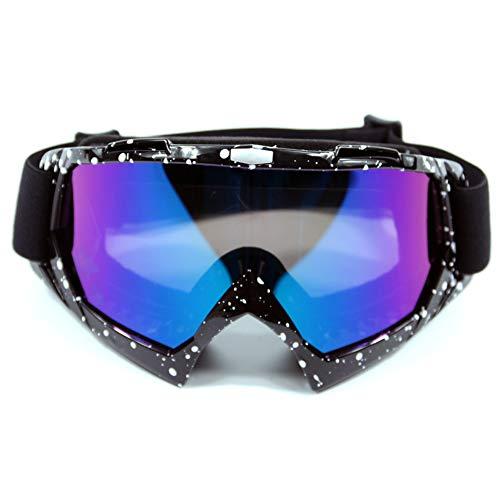 XYDZ Prueba de Viento UV Goggle, Protectoras Moto Ajustable Gafas de Nieve a Prueba de Viento Anti-Niebla Gafas Esqui Snowboard con Protección Lentes Anti-Reflejo para Mujer Hombre Gafas - Puntos Blan