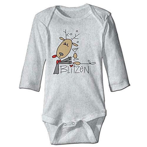 MSGDF Unisex Newborn Bodysuits Blitzen Reindeer Baby Babysuit Long Sleeve Jumpsuit Sunsuit Outfit Ash