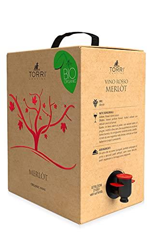 Vino rosso Bag In Box Merlot Biologico 5 Litri