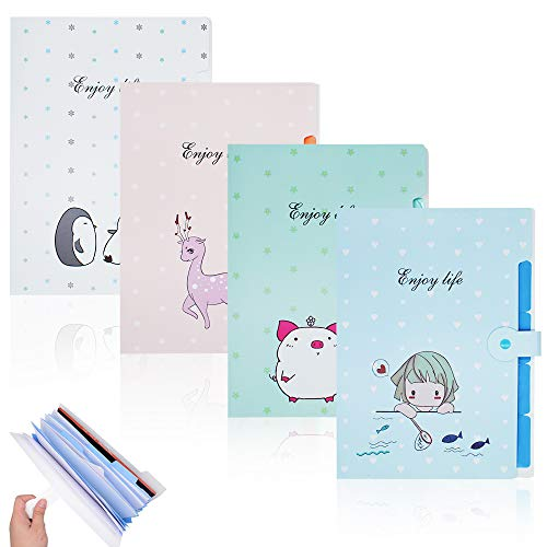 Hantier 4 Pack Expanding File Folders 5 Pockets A4 Size Waterproof Accordion Document File Folder Expanding Letter Organizer for School & Office (Pink, Blue, White, Green)