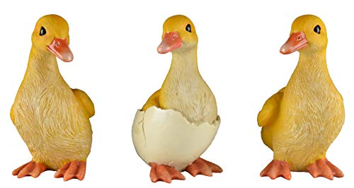 JORAE Ducks Statue Yard Garden Decorations Set of Three, Ducklings Ornament Animal Outdoor Statue, 5 Inch, Polyresin