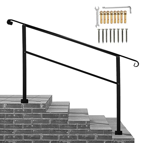 Metty Metal Outdoor Stair Railing,Black Handrails for Outdoor Steps 5 Step Handrail Fits