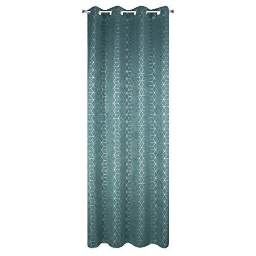 Eurofirany Geometrisch patroon Velvet look fluweelachtige gordijnen 8 ogen elegant glad effen zacht woonkamer slaapkamer lounge, turquoise + zilver, 135x250cm