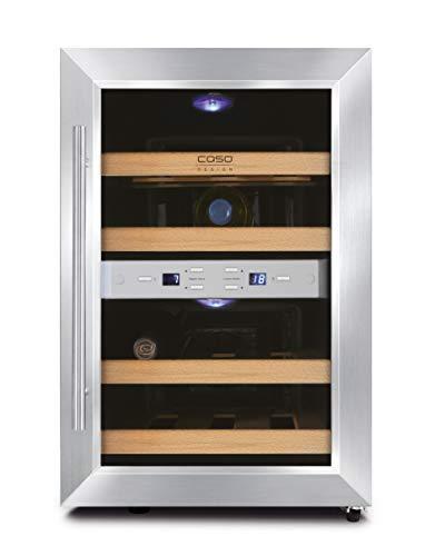 CASO WineDuett 12 | Weinkühlschrank für 12 Flaschen Rotwein | 2 Zonen für 8-18°C und 10-16°C, LED, 4 Böden aus Holz, UV-Filterglas, Edelstahl