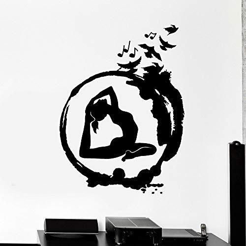 Pose pared calcomanía Yoga Zen redondo pájaro meditación Interior decoración de interiores vinilo puerta y ventana pegatina eliminación de arte papel tapiz