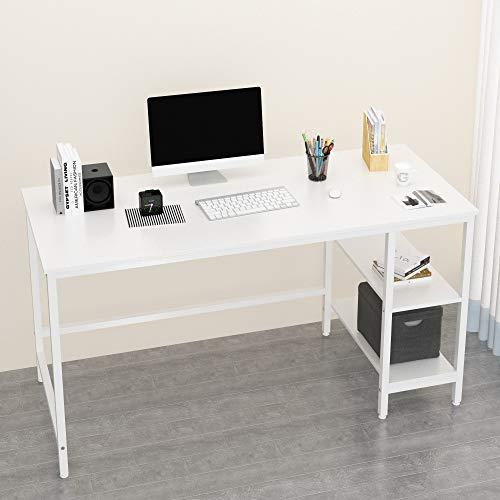 JOISCOPE Computertisch, Laptop-Tisch, Arbeitstisch mit Holzregalen, Tisch im Industriestil aus Holz und Metall,140 x 60 x 75 cm(Weiß Finish)