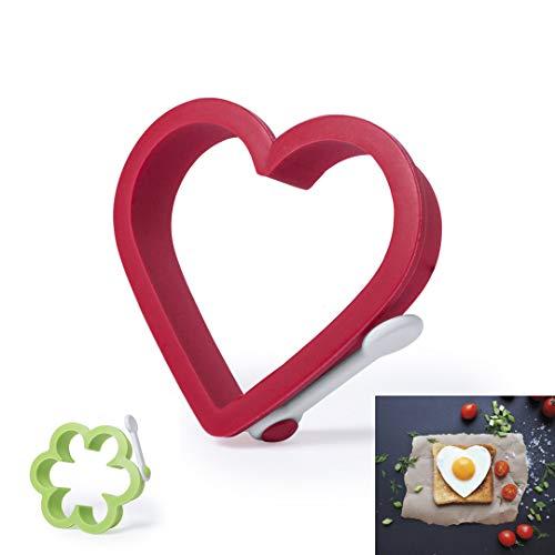 Set de Moldes de silicona para hacer huevos fritos, molde silicona con forma de corazón, molde para hacer huevos con forma, accesorios de cocina divertidos, menaje cocina original