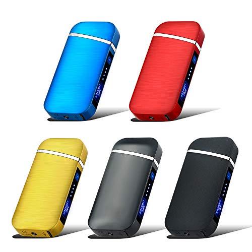 USB Feuerzeug Elektronisches Induktions-Feuerzeug, wiederaufladbar, USB elektrisches Feuerzeug, Fingerabdruck, Touch-Feuerzeug, Plasma-Feuerzeug, winddicht, Metall-Zigarettenanzünder blau (Gold)