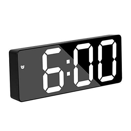 aolongwl Reloj despertador digital LED Reloj despertador de luz nocturna termómetro pantalla espejo lámpara de carga USB relojes klokken reloj despertador digital
