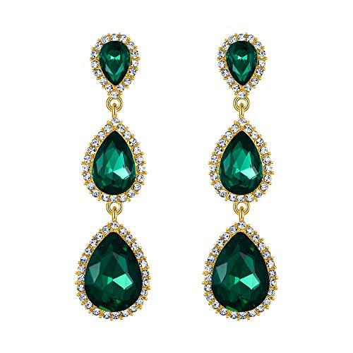 EleQueen Women's Gold-tone Austrian Crystal Teardrop Pear Shape 2.5 Inch Long Dangle Earrings Emerald Color