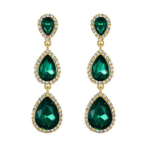 EleQueen Women's Gold-tone Austrian Crystal Teardrop Pear Shape 2.5 Inch Long Dangle Earrings Emerald Color