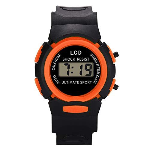 Kinder Analog Digital Sport LED Elektronische wasserdichte Armbanduhr, Wasserdicht einstellbare Sportuhr FÜR Jungen und Mädchen (Orange)