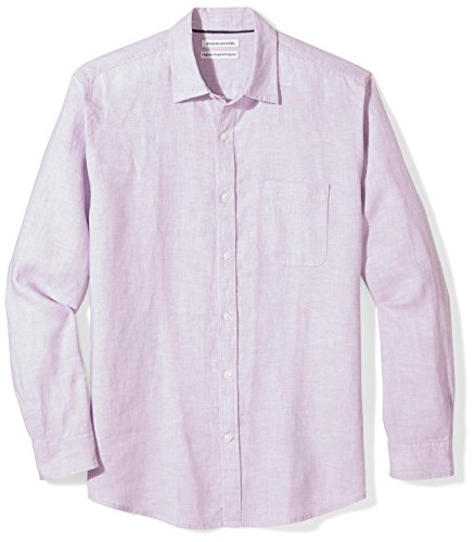 Amazon Essentials Men's Regular-Fit Long-Sleeve Linen Shirt, lavender, Medium