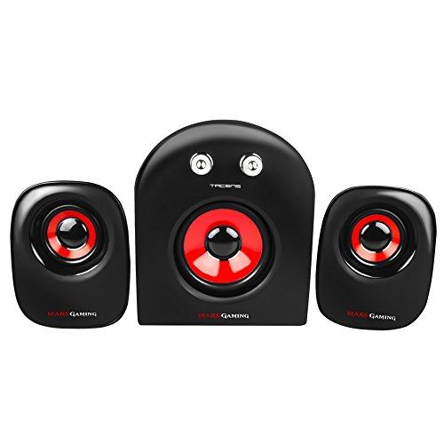 Mars Gaming MS2 - Altavoces gaming (20W potencia, 5 drivers / 3 activos y 2 pasivos, tamaño compacto,subwoofer para graves, USB, Jack 3.5mm, PC / Mac / Smartphone / Tablet), negro y rojo