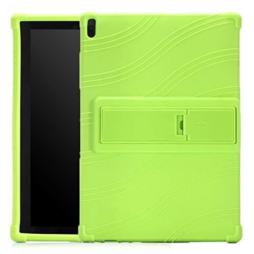 CellphoneParts BZN FOR Lenovo Tab E10 Tablet PC Funda Protectora de Silicona con Soporte Invisible (Color : Green)