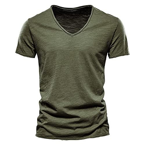 T-Shirt Hombre Verano Transpirable Slim Fit Cuello En V Hombres Shirt Ocio Cómodo Color Sólido Luz Moda Shirt Manga Corta Entrenamiento Trotar Playa De Arena Hombres Shirt Muscular I-Green 2 L