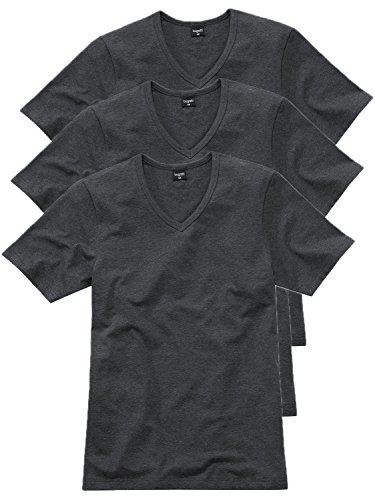 Bugatti Herren T-Shirt V-Hals 3er Pack Farbe anthrazit Melange, Größe 5