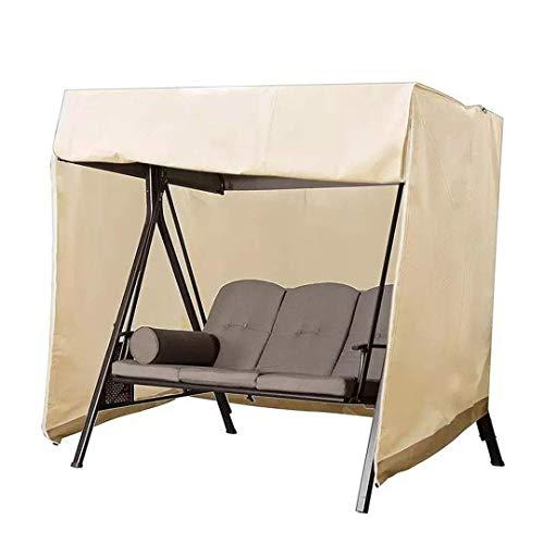 CMTTOME Fundas para sillas de jardín con columpio, funda protectora impermeable para exteriores, banco, patio, color beige, 3 asientos 220 x 125 x 170 cm