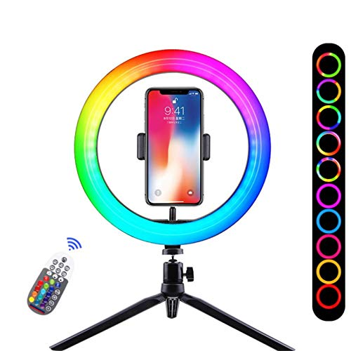 RGB Fill Light Mobile Phone Live Support Anchor Selfie Photography Camera Portable Tripod Colorful Ring Light