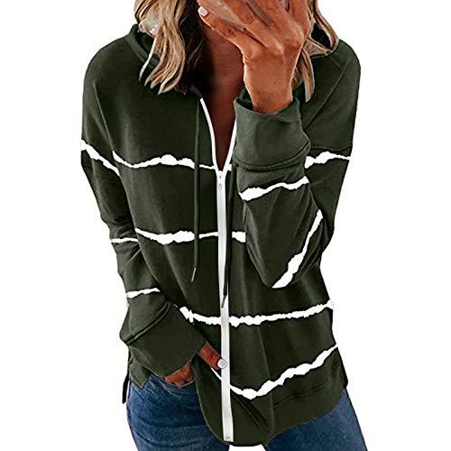 Xmiral Dünn Outerwear Damen Reißverschluss Langarm Leichte Kapuze Sweatshirt...