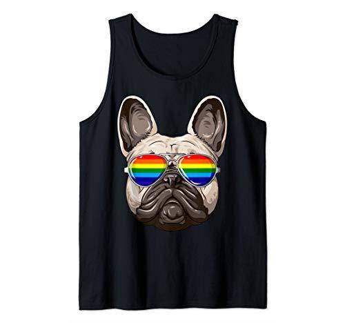 French Bulldog Gay Pride Flag LGBT Rainbow Sunglasses Tank Top