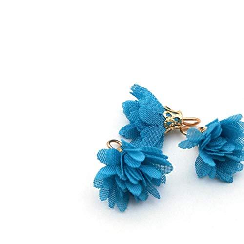 Nieuwe 20 stks kleurrijke bloem hanger kwasten diy oorbellen stof sieraden maken naaien franje kwastje voor vrouwen multilayer kwastje, kleur 3 als foto