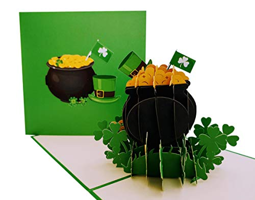 iGifts And Cards Leprechaun Hat on Pot of Gold 3D Pop Up Card - Cool, Unique, Irish, Green, Four-Leaf, St. Paddy's, Celebration, Shamrock, Good Luck