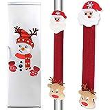 BESLIME Christmas Refrigerator Decorations Set, Xmas Fridge Door Handle Covers and Christmas Refrigerator Stickers for Holiday Christmas Decorations for Fridge, Garage, Office Cabinets, 3pcs