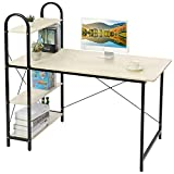 HOME BI Study Desk, Home Office Computer Desk with Shelf, Wood Work-Station PC Laptop Table (White + Black)