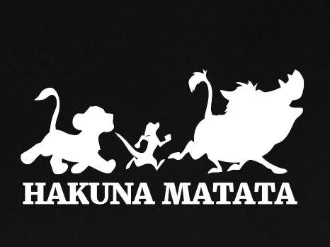 Hakuna Matata LLI725 Vinyl-Aufkleber, Motiv: König der Löwe, für Autos, LKWs, Wände, Laptops, 14 x 7,6 cm, Weiß