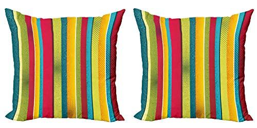 ABAKUHAUS Arco Iris de la Vendimia Set de 2 Fundas para Cojín, Las Rayas desiguales, con Estampado en Ambos Lados con Cremallera, 40 cm x 40 cm, Multicolor
