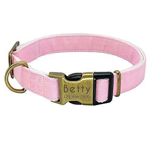 Correa Perro Cuello de perro personalizado Nylon Pequeños perros grandes Perrito Collares grabados Identificación del nombre para Pequeño Medium Pet Pitbull Chihuahua Pink ( Color : Pink , Size : L )
