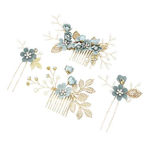 Toyvian 4 stücke Strass haarkämme floral Braut Kopfbedeckung Kristalle Stirnband dekorative Braut Stirnband Hochzeit abendhaar (grün)