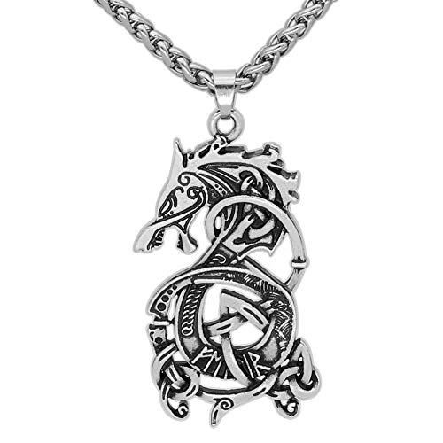 GuoShuang Stainless Steel Viking Amulet Dragon Scandinavian Pendant Necklace -with Gift Bag