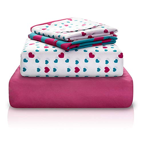 "Chital Full Bed Sheets for Girls | 4 Pc Red & Green Hearts Print | 1 Flat & 1 Fitted Sheet, 2 Pillow Cases | Durable Super-Soft, Double-Brushed Microfiber | 15"" Deep"
